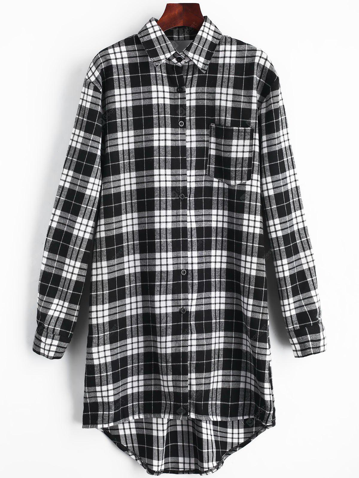 Checked Cut Out Back Pocket Dress