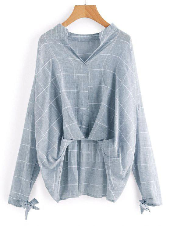 LIGHT BLUE S Gathered Checked High Low Blouse