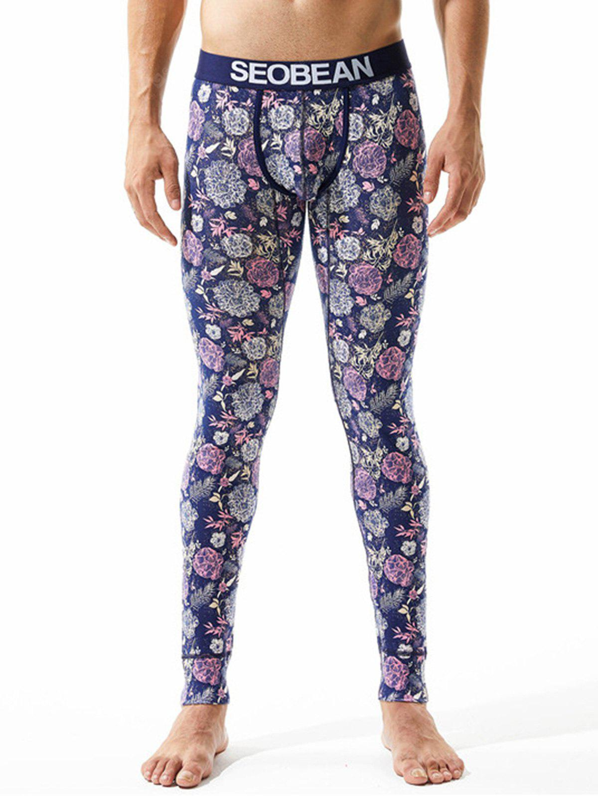 Florals Leaves Print U Pouch Gym Pants