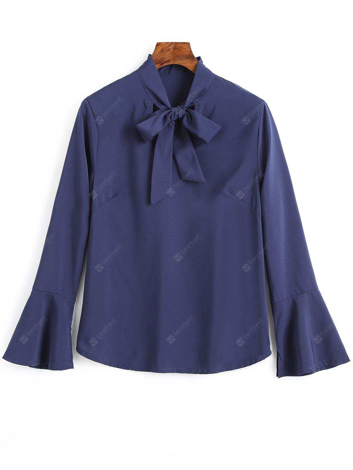 CERULEAN S Slit Bell Sleeve Bow Tie Blouse