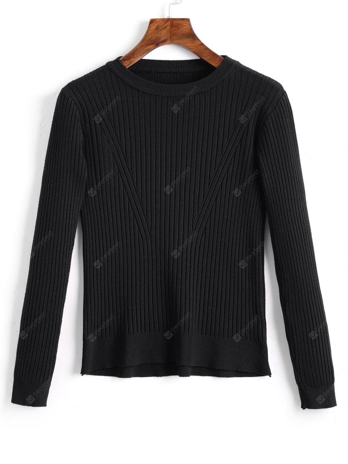 Ribbed Crew Neck Knitted Top