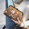 Blumen Stickerei Kunstleder Clutch Bag - BRAUN