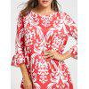 Casual Print Shift Dress - RED
