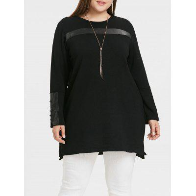 Plus Size Faux Leather Panel Top