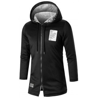 Graphic Patch Zip Up Longline Hoodie