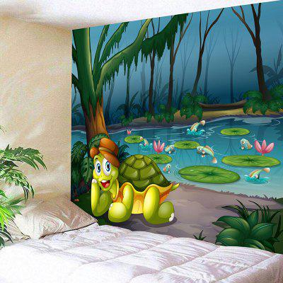 Cartoon Turtle Pond Print Wall Art Tapestry