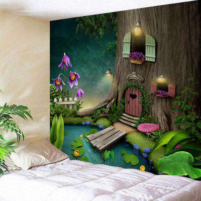 Wonderland Tree House Print Tapiz colgante de pared