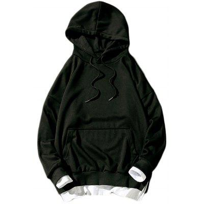 Faux Twinset Panel Drop Shoulder Pullover Hoodie