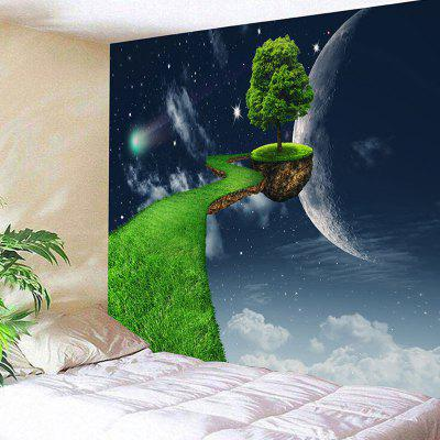 3D Planet Floating Tree Path Imprimir Wall Hanging Fantasy Tapestry