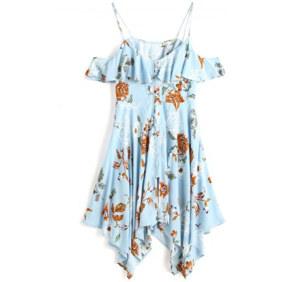 Cold Shoulder Floral Button Up Midi Dress