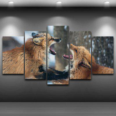 Fighting Foxes Pattern Wall Art Decor Unframed Canvas Paintings
