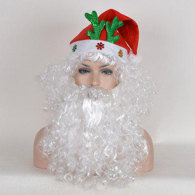Short Shaggy Curly Santa Claus Cosplay Synthetic Wig With Beard and Cap цены онлайн