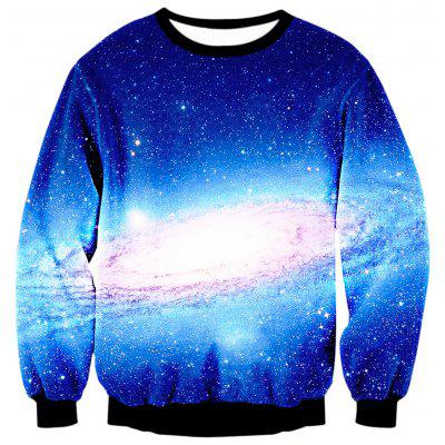 Gearbest Space Print Crewneck Galaxy Sweatshirt
