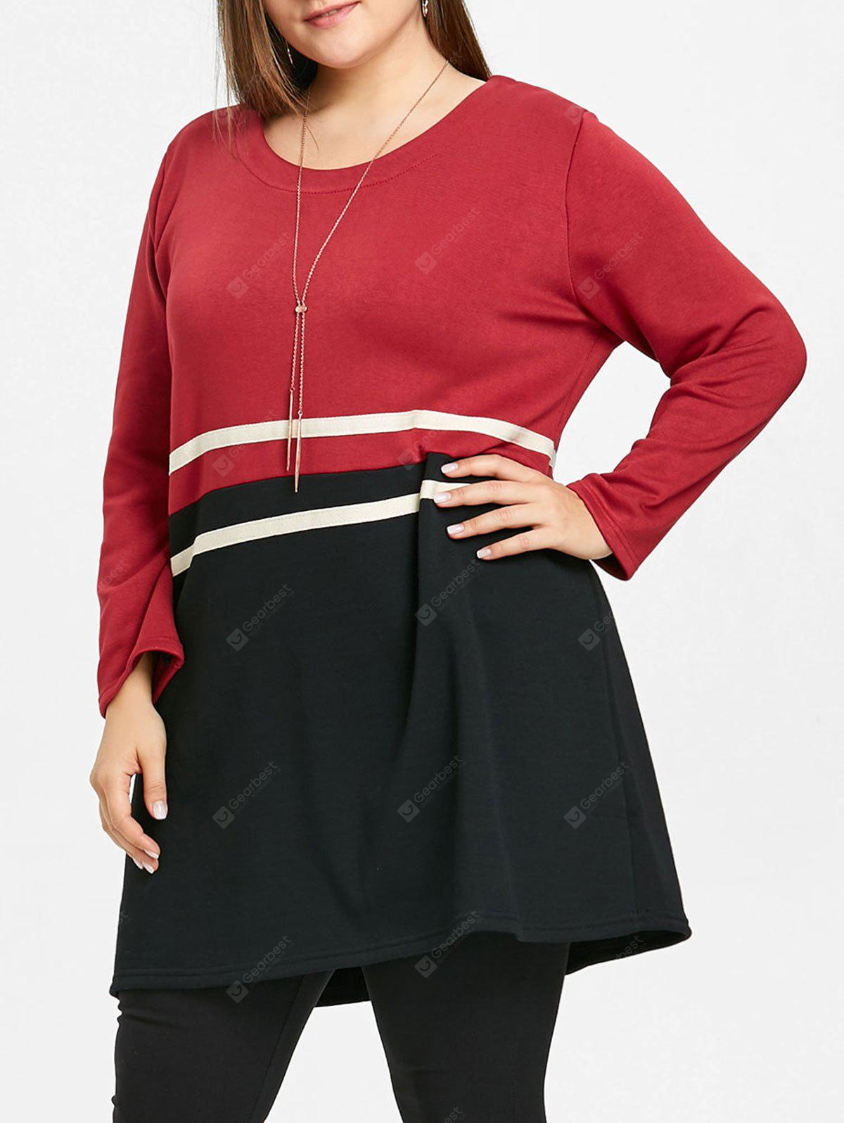 Plus Size Casual Striped Tunic Top