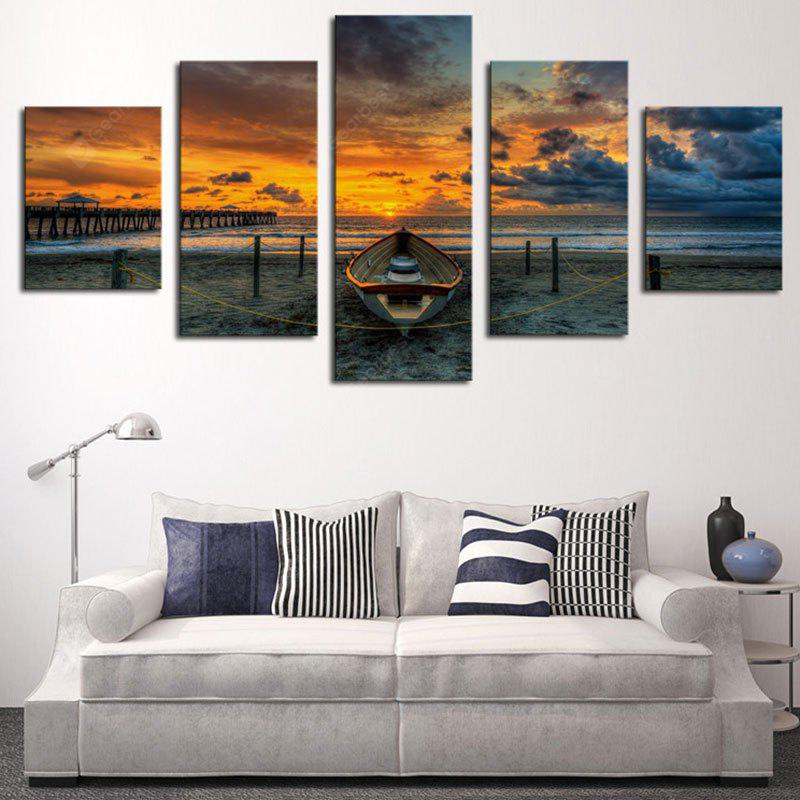 Barco de pesca Sunset Clouds Impreso Canvas Wall Art Paintings