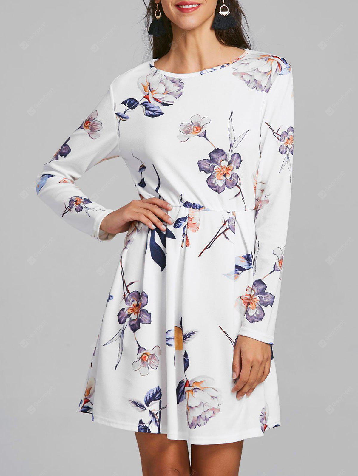Long Sleeve Shift Floral Print Dress