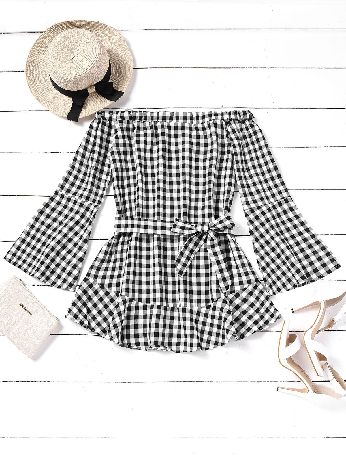 Plaid Off Shoulder Belted Mini Dress