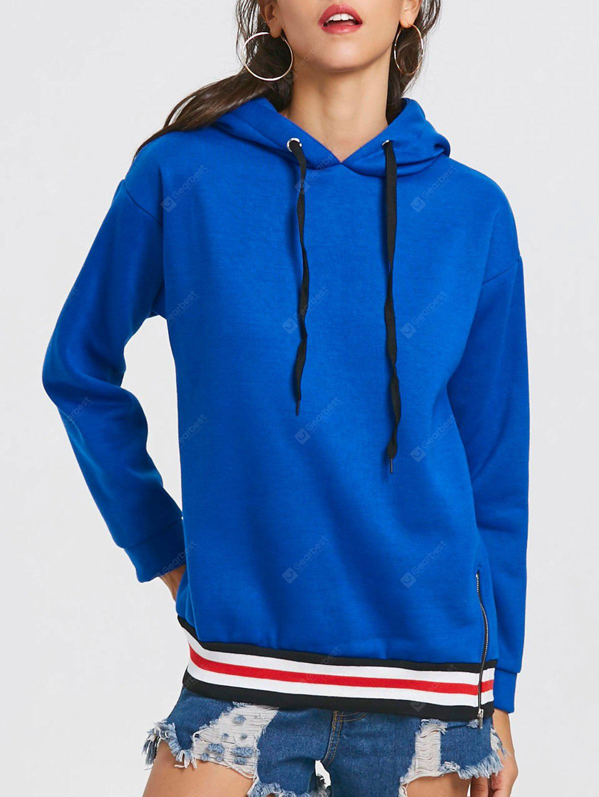 Drawstring Stripe Trim Drop Shoulder Tunic Hoodie
