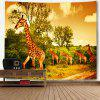 Foraging Giraffes Print Wall Hanging Tapestry - COLORMIX