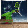 3D Planet Floating Tree Path Print Wall Hanging Fantasy Tapestry - BLUE