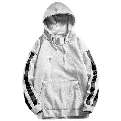 Hooded Side Stripe Fleece Pullover Hoodie