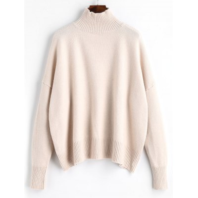 High Neck Ribbed Panel Sweater