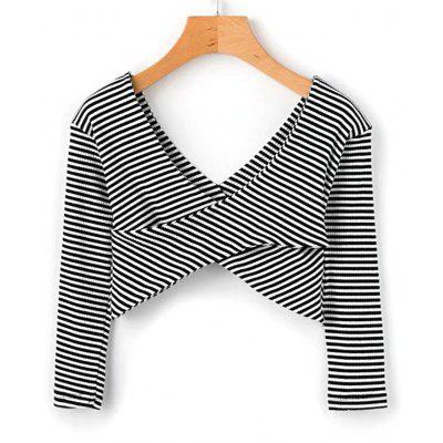 Stripes Crossed Front Cropped Top
