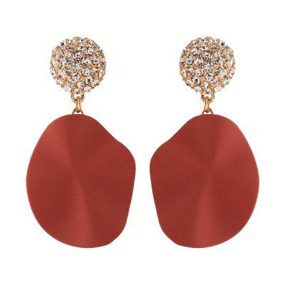 Rhinestone Round Petal Shaped Earrings