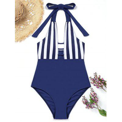 One-piece Striped Halter Swimsuit