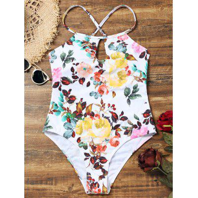 Keyhole Floral High Cut Swimsuit