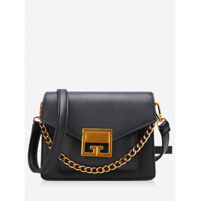 Chain Metal Faux Leather Crossbody Bag