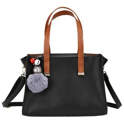 2 Pieces Pompom Faux Leather Handbag Set