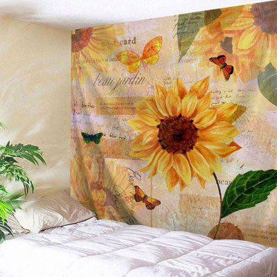 Butterfly Sunflower Print Wall Hanging Tapestry