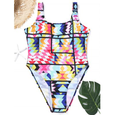 Colorful Plus Size High Cut Swimsuit
