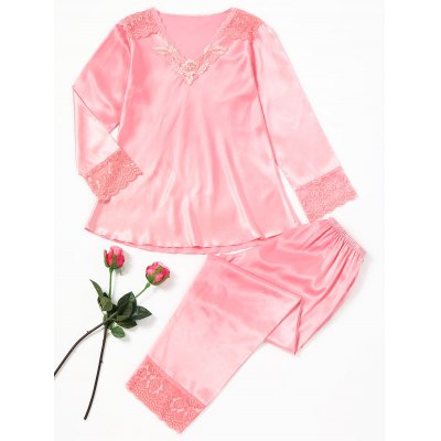 Lace Insert Satin Pyjama Set