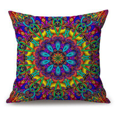 Colorful Mandala Pattern Sofa Algodão Linho Throw Pillow Case