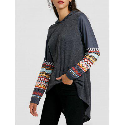 High Low Print Sleeve Tunic Hoodie