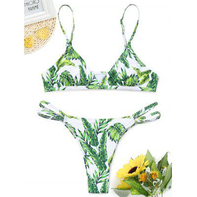 Leaf Print Thong Bathing Suit