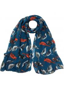 Vintage Flying Birds Pattern Decoration Silky Long Scarf