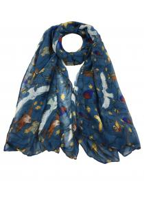 Vintage Birds Printed Silky Long Scarf