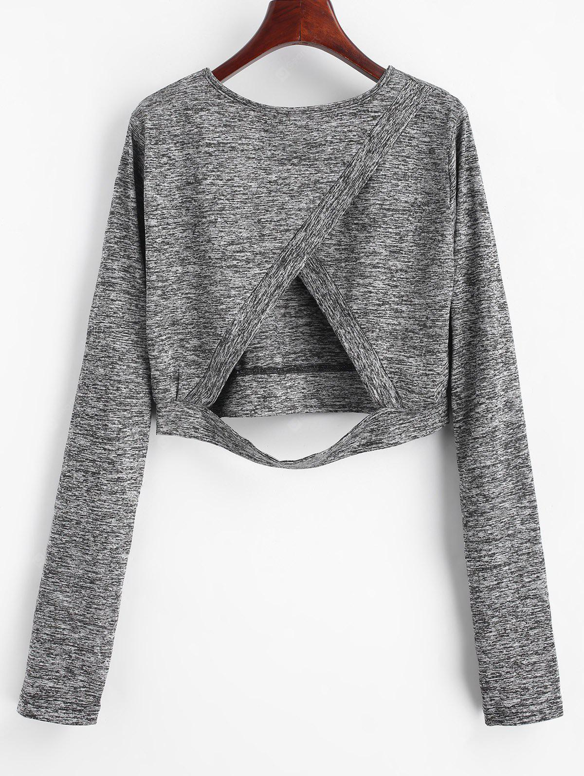Cut Out Heathered Cropped Tee