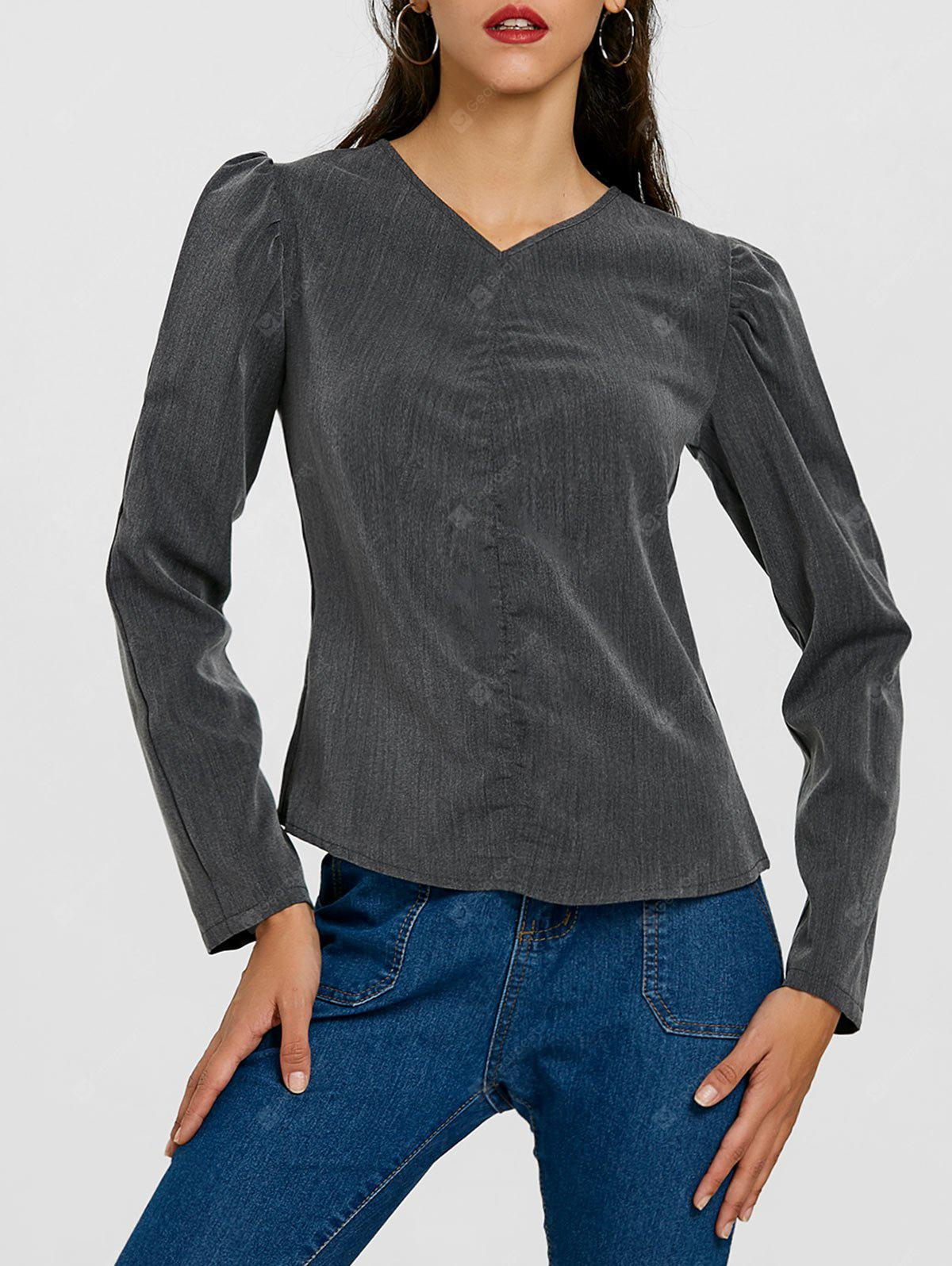 DEEP GRAY M Puffy Sleeve Ruched Blouse