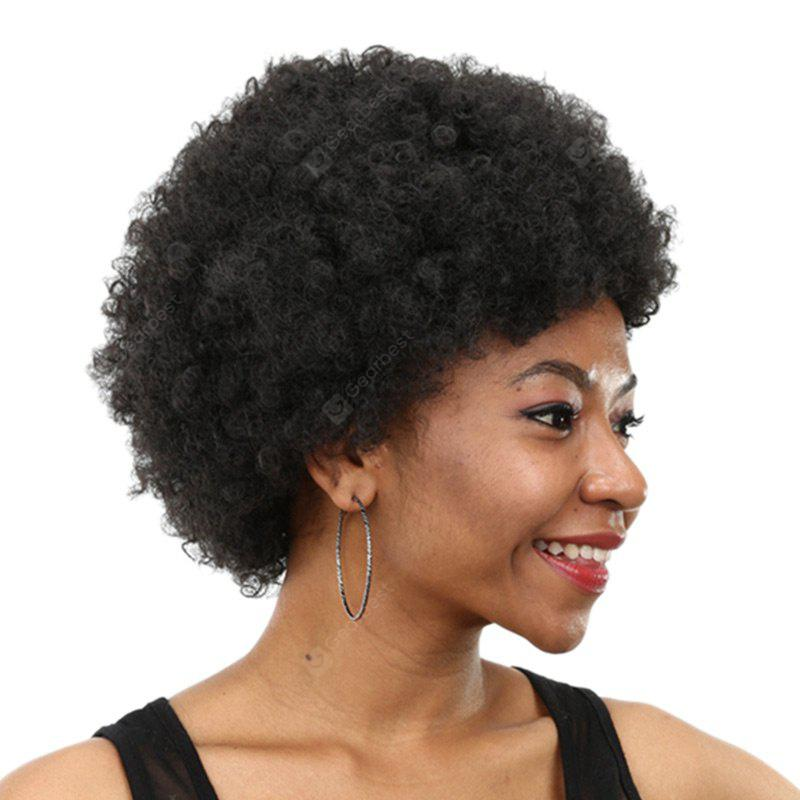 Short Inclined Bang Bouffant Afro Curly Synthetic Wig