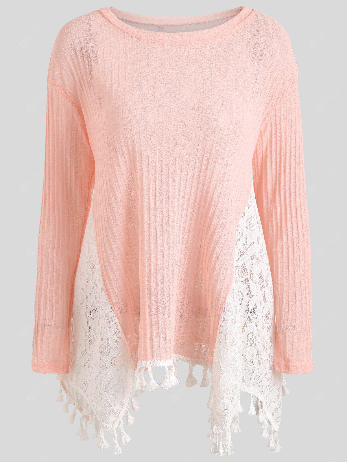 Semi Sheer Lace Trim Tassel T-shirt