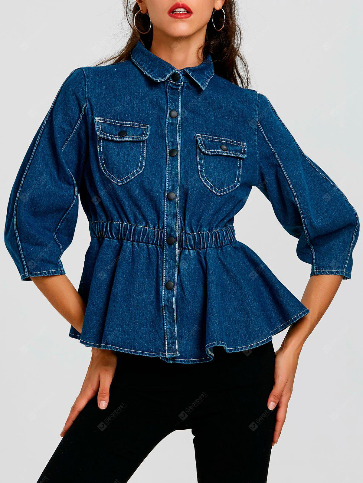 Button Up High Waist Denim Jacket