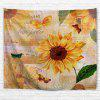 Butterfly Sunflower Print Wall Hanging Tapestry - LIGHT BROWN