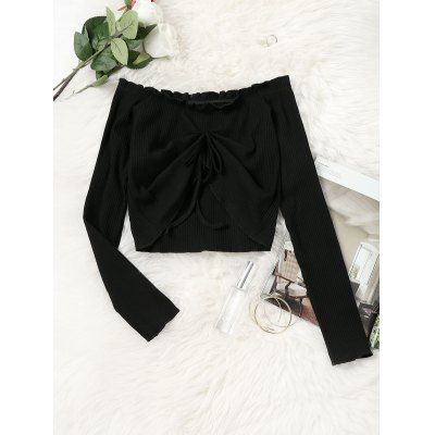 Buy BLACK S Off Shoulder Draped Knitted Cropped Top for $16.91 in GearBest store
