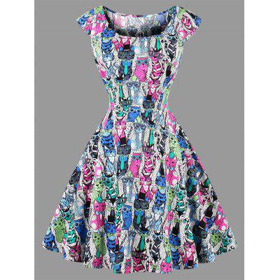 Plus Size Polka Dot Cat Print Dress