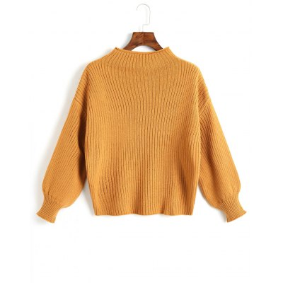 Lantern Sleeve Plain Pullover Sweater