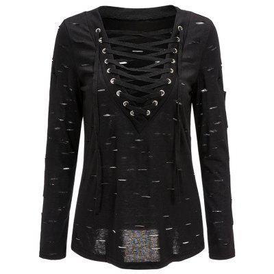 Ripped Lace Up Long Sleeve Top